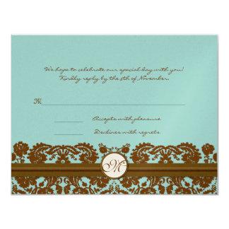Brown Damask Wedding Monogram Response Card Announcements