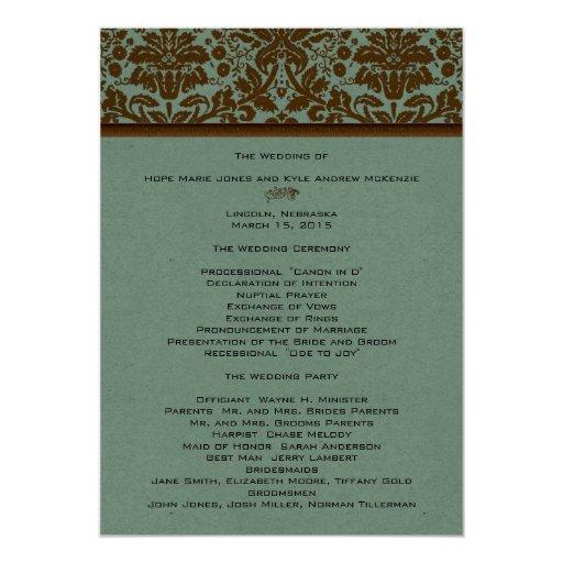 Brown Damask Wedding Program 5x7 Paper Invitation
