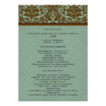 Brown Damask Wedding Program Invitations