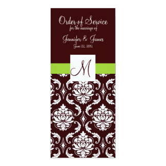 "Brown Damask Wedding Programs with Monogram 4"" X 9.25"" Invitation Card"