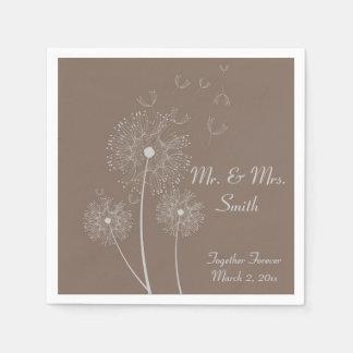 Brown Dandelion Wedding Napkins