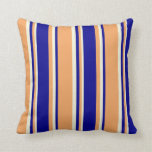 [ Thumbnail: Brown, Dark Blue & Beige Lined Pattern Pillow ]