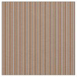 [ Thumbnail: Brown & Dark Gray Lines Pattern Fabric ]