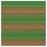 [ Thumbnail: Brown & Dark Green Lined Pattern Fabric ]
