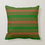 [ Thumbnail: Brown & Dark Green Lined Pattern Throw Pillow ]