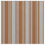 [ Thumbnail: Brown & Dark Grey Colored Stripes Pattern Fabric ]