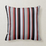 [ Thumbnail: Brown, Dark Grey, Lavender, and Black Stripes Throw Pillow ]