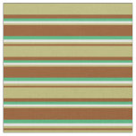[ Thumbnail: Brown, Dark Khaki, Light Cyan & Sea Green Colored Fabric ]