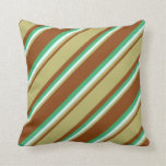 [ Thumbnail: Brown, Dark Khaki, Light Cyan & Sea Green Colored Throw Pillow ]