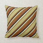 [ Thumbnail: Brown, Dark Khaki, Light Yellow, and Black Colored Throw Pillow ]