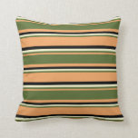 [ Thumbnail: Brown, Dark Olive Green, Light Yellow, and Black Throw Pillow ]