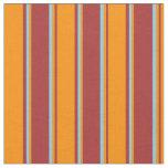[ Thumbnail: Brown, Dark Orange & Sky Blue Lines Fabric ]