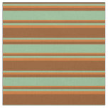[ Thumbnail: Brown, Dark Sea Green & Chocolate Colored Lines Fabric ]