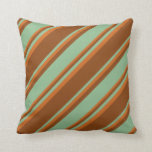 [ Thumbnail: Brown, Dark Sea Green & Chocolate Colored Lines Throw Pillow ]
