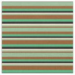 [ Thumbnail: Brown, Dark Sea Green, Tan, Black & Sea Green Fabric ]