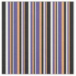 [ Thumbnail: Brown, Dark Slate Blue, White, and Black Stripes Fabric ]