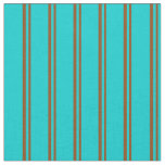 [ Thumbnail: Brown & Dark Turquoise Colored Pattern Fabric ]