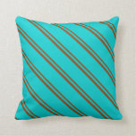 [ Thumbnail: Brown & Dark Turquoise Colored Pattern Pillow ]