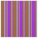 [ Thumbnail: Brown, Dark Violet, and Dark Grey Colored Pattern Fabric ]