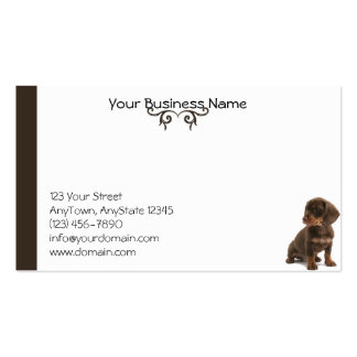 Brown Daschund Puppy sitting at lower right Double-Sided Standard Business Cards (Pack Of 100)