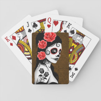 Brown Day of the Dead Sugar Skull Girl Deck Of Cards