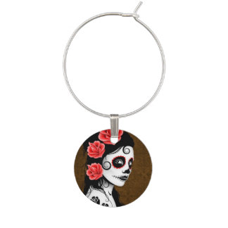 Brown Day of the Dead Sugar Skull Girl Wine Glass Charm
