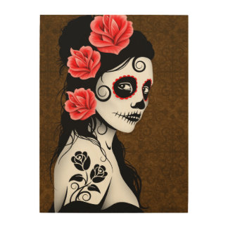 Brown Day of the Dead Sugar Skull Girl Wood Wall Art