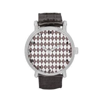 Brown de color topo y Argyle blanco Reloj De Mano