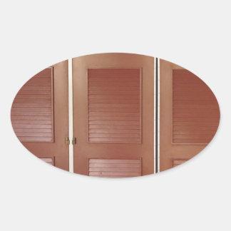 Brown de oro que construye decoraciones interiores pegatina ovalada