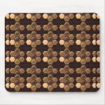 Brown de oro Sexagon: Decoraciones elegantes Alfombrilla De Ratón