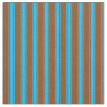 [ Thumbnail: Brown & Deep Sky Blue Colored Stripes Fabric ]
