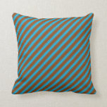 [ Thumbnail: Brown & Deep Sky Blue Colored Stripes Throw Pillow ]