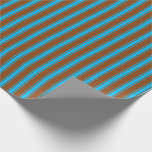 [ Thumbnail: Brown & Deep Sky Blue Colored Stripes Wrapping Paper ]