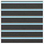 [ Thumbnail: Brown, Deep Sky Blue, Lavender & Black Pattern Fabric ]