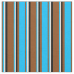 [ Thumbnail: Brown, Deep Sky Blue, Light Yellow & Black Colored Fabric ]