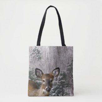 Brown Deer and Winter Trees Animal Tote Bag