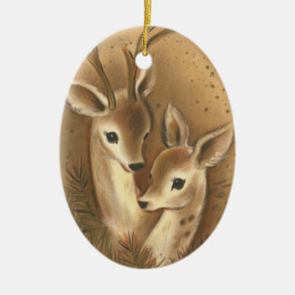 Brown Deer Couple Personalized Christmas Ornament