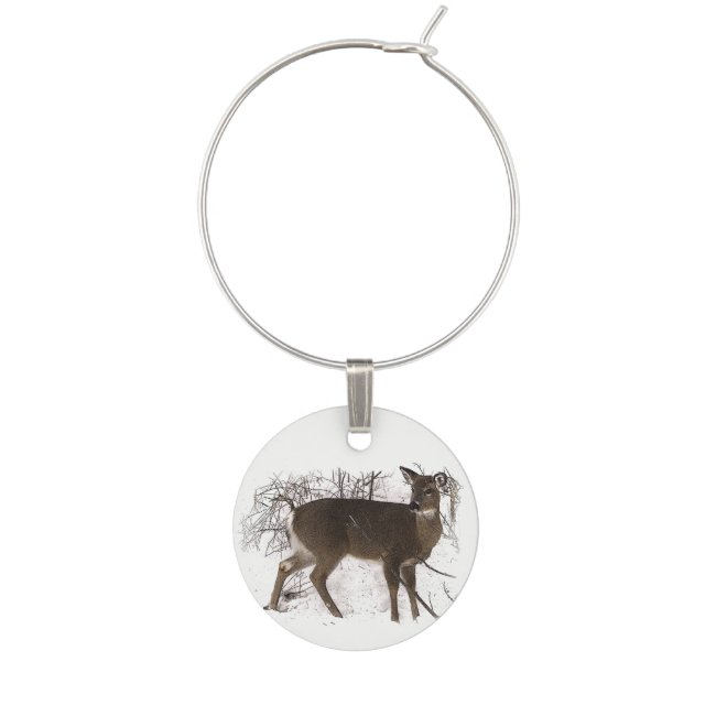 Brown Deer in Snow Wine Charm