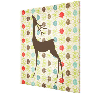 Brown Deer on Snowflakes Wrapped Canvas