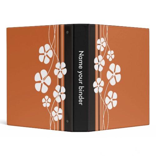 Brown Designer White Flowers Binders