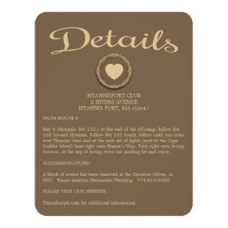 Brown Details / Directions Heart Floral Seal Card