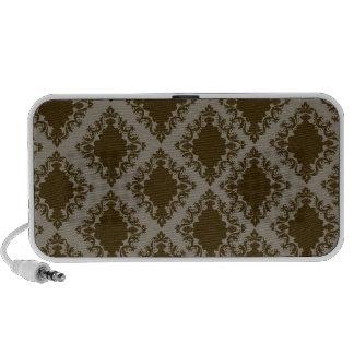 brown diamond damask pattern mini speaker