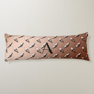 Brown diamond steel plate monogram body pillow