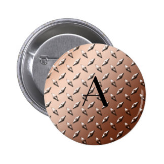 Brown diamond steel plate monogram button