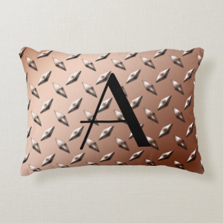 Brown diamond steel plate monogram decorative pillow