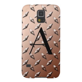 Brown diamond steel plate monogram galaxy s5 case