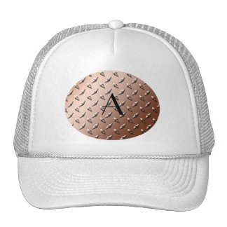Brown diamond steel plate monogram trucker hats