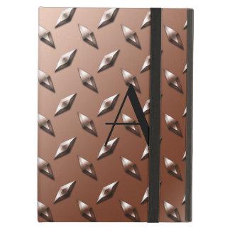 Brown diamond steel plate monogram iPad air cases