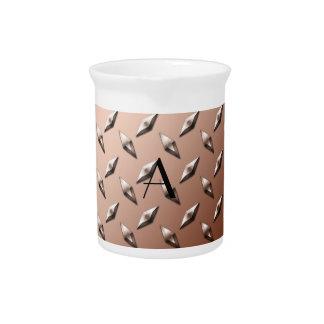 Brown diamond steel plate monogram drink pitcher