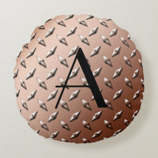Brown diamond steel plate monogram round pillow
